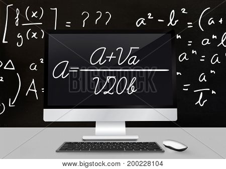 Digital composite of Computer Desk foreground with blackboard graphics of math equations