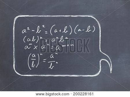 Digital composite of equations in chat bubble on blackboard