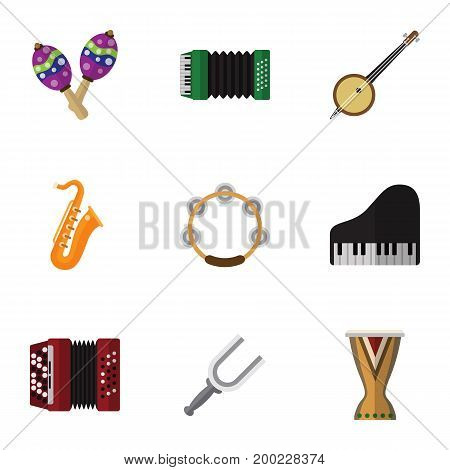 Set Of 9 Editable Media Flat Icons. Includes Symbols Such As Sax, Timbrel, Portal And More