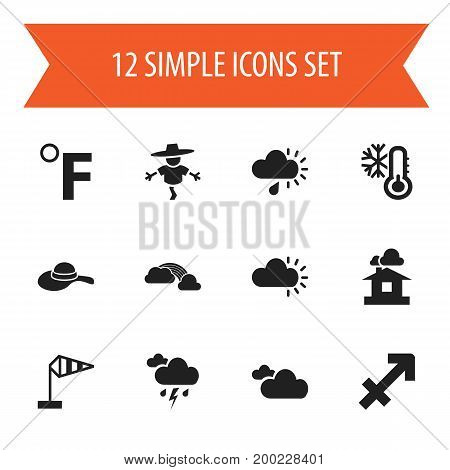 Set Of 12 Editable Weather Icons. Includes Symbols Such As Bugbear, Weather After Rain, Breeze Vane And More