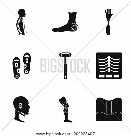Orthopedic icon set. Simple style set of 9 orthopedic vector icons for web isolated on white background