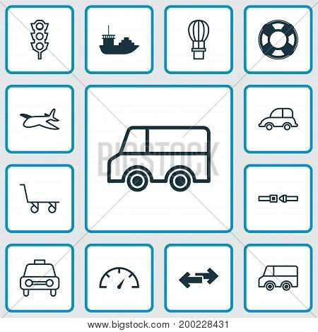 Vehicle Icons Set. Collection Of Lorry, Speed Checker, Flight Basket And Other Elements