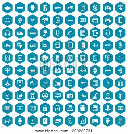100 adjustment icons set in sapphirine hexagon isolated vector illustration