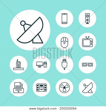 Device Icons Set. Collection Of Antenna, Universal Serial Bus, Television And Other Elements