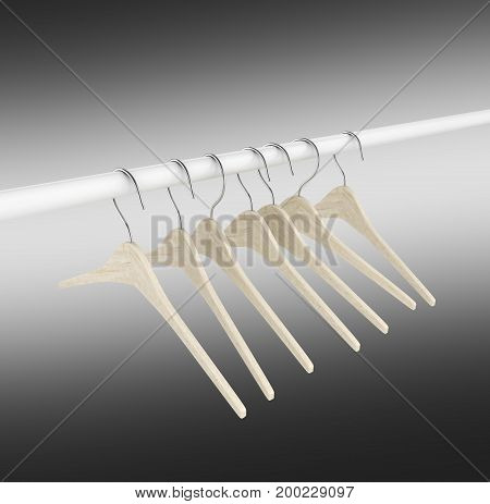 Wooden Clothes Hangers Illustration Of Classic Clothes Hanger Isolated On Black Gradient Background