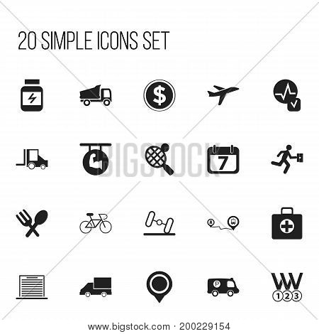 Set Of 20 Editable Mixed Icons. Includes Symbols Such As Currency, Position, Protein And More