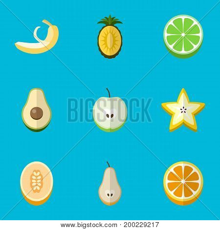 Set Of 9 Editable Dessert Flat Icons. Includes Symbols Such As Starfruit, Jonagold, Duchess And More