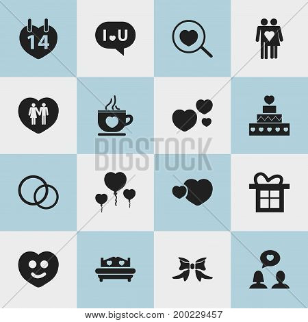 Set Of 16 Editable Love Icons. Includes Symbols Such As Matrimony, Jewelry, Joy And More