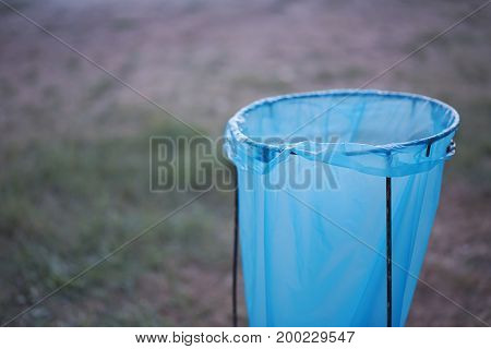 Empty Clean Blue Plastic Garbage Bag Closeup