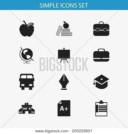 Set Of 12 Editable Education Icons. Includes Symbols Such As Nib, Supervision List, Apple And More