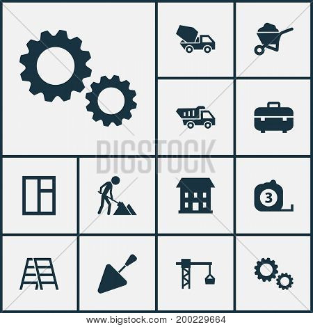 Construction Icons Set. Collection Of Cement Vehicle, Lifting Hook, Truck And Other Elements