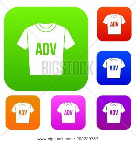 T-shirt with print ADV set icon in different colors isolated vector illustration. Premium collection