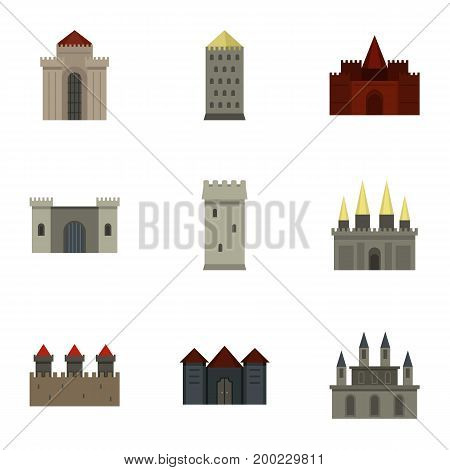 Ancient fortresses and palaces icon set. Flat style set of 9 ancient fortresses vector icons for web isolated on white background