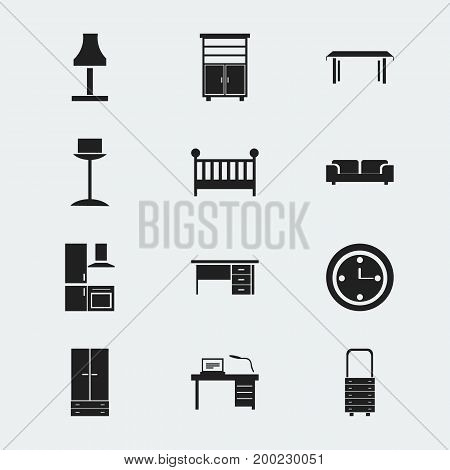 Set Of 12 Editable Furnishings Icons. Includes Symbols Such As Interior, Sofa, Cabinet And More