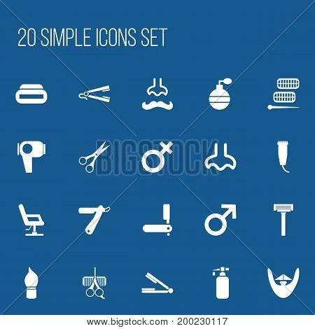 Set Of 20 Editable Coiffeur Icons. Includes Symbols Such As Nasal, Take The Hair Dryer, Shear And More