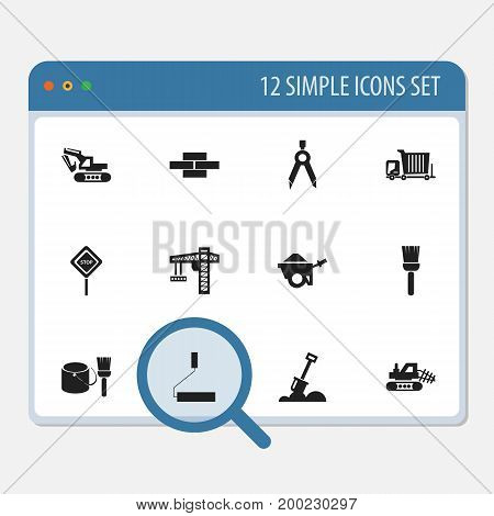 Set Of 12 Editable Building Icons. Includes Symbols Such As Mop, Excavation Machine, Mule And More