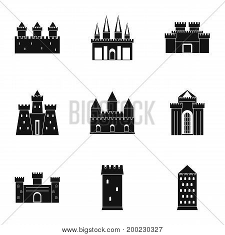 Ancient fortresses and palaces icon set. Simple style set of 9 ancient fortresses vector icons for web isolated on white background
