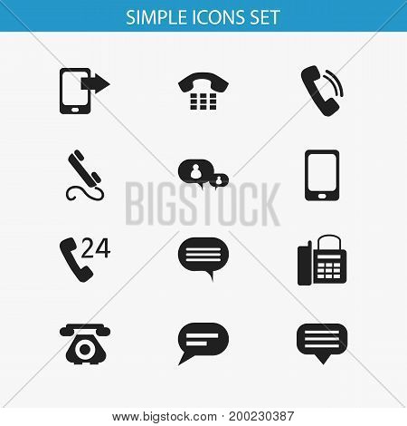 Set Of 12 Editable Gadget Icons. Includes Symbols Such As Chatting, Phone, Comment And More