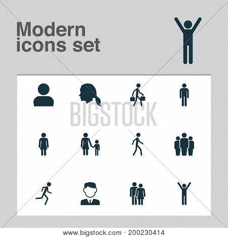 Person Icons Set. Collection Of Gentleman, Happy, Female And Other Elements