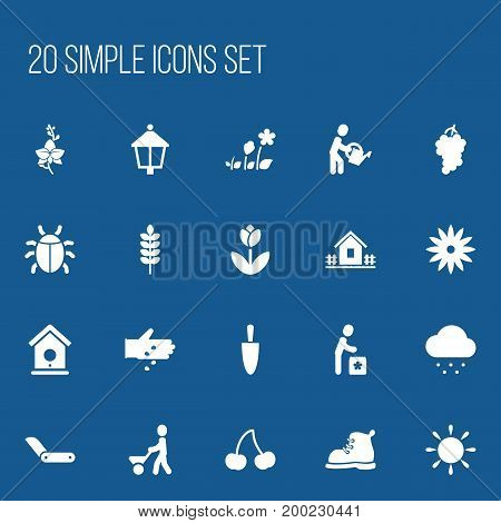 Set Of 20 Editable Agriculture Icons. Includes Symbols Such As Man With Trolley, Sunshine, Seed Planting And More