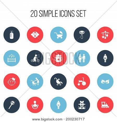Set Of 20 Editable Infant Icons. Includes Symbols Such As Bike, Pregnancy, Pram And More