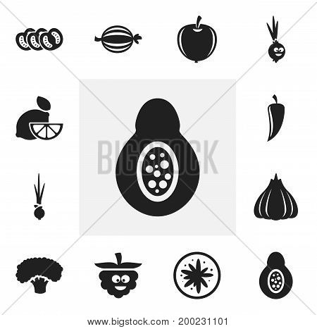 Set Of 12 Editable Kitchenware Icons. Includes Symbols Such As Onion, Vegetable, Amusing Garlic And More