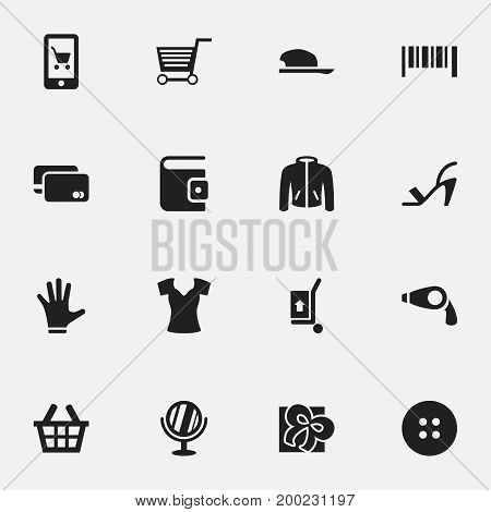 Set Of 16 Editable Shopping Icons. Includes Symbols Such As Vest, Ribbon, Bonnet And More