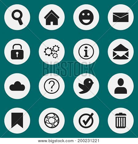 Set Of 16 Editable Network Icons. Includes Symbols Such As Letter, Faq, Tag And More