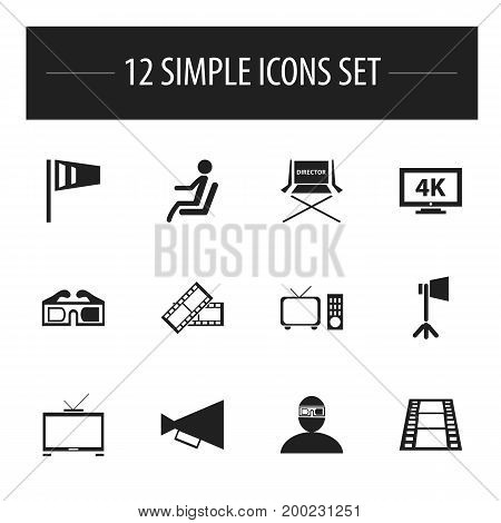 Set Of 12 Editable Filming Icons. Includes Symbols Such As Studio Light, Pennant, Camera Strip And More