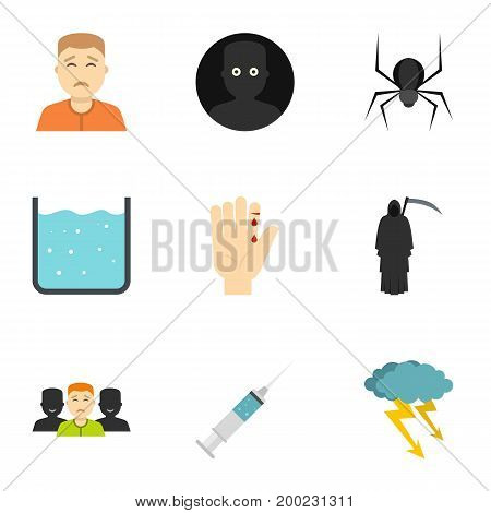 Fears and phobias icon set. Flat style set of 9 fears and phobias vector icons for web isolated on white background