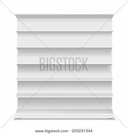 Supermarket blank shelf. Empty white long retail showcase for products on white background. 3D illustration isolated.