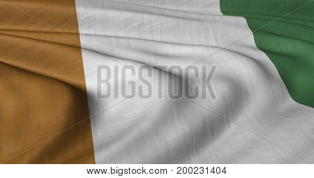 3D illustration of Ivory Coast flag fluttering in light wind.