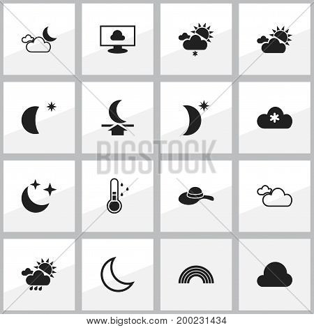 Set Of 16 Editable Climate Icons. Includes Symbols Such As Night Sky, Snowy Sky, Moon With Star And More