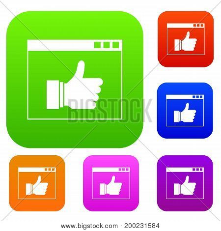 Hand with thumb up in browser set icon in different colors isolated vector illustration. Premium collection