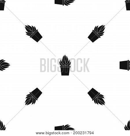 Aloe vera plant pattern repeat seamless in black color for any design. Vector geometric illustration