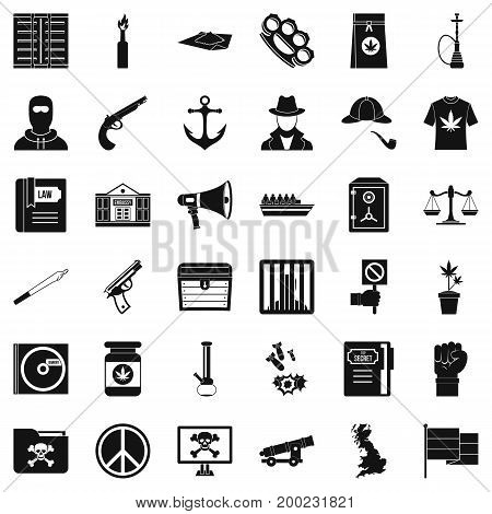 Secret crime icons set. Simple style of 36 secret crime vector icons for web isolated on white background