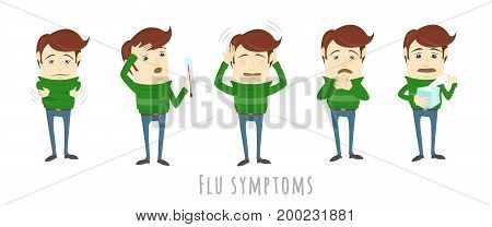 Flu and common cold infographic elements. Prevention symptoms of influenza. Medical icons. Man suffers cold, fever. Isolated vector flat illustration on white background for brochure, poster, banner