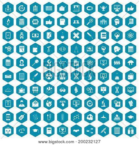 100 analytics icons set in sapphirine hexagon isolated vector illustration