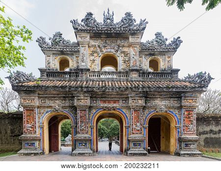 Entrance gate to the king's town of Hue. Vietnam. A UNESCO World Heritage Site. Hue Vietnam