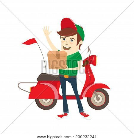 Funny delivery boy delivering box by red retro scooter. Flat design. Vector illustration.