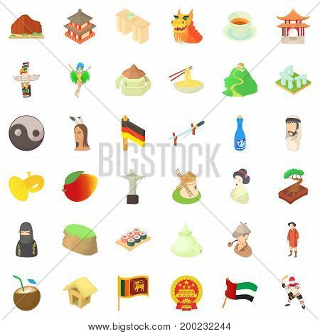 Europe culture icons set. Cartoon style of 36 europe culture vector icons for web isolated on white background