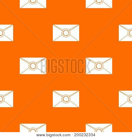 Envelope with red wax seal pattern repeat seamless in orange color for any design. Vector geometric illustration