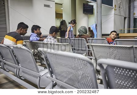 Dhaka, bangladesh, august 2017- people are waiting for dolocated at shavar city center in dhaka in bangladesh taken on 17 august 2017