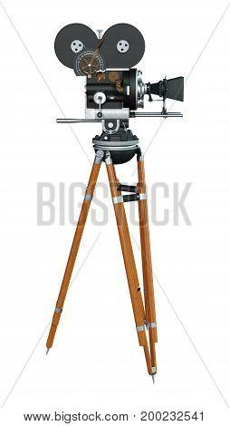 3D Rendering Filmmaker Movie Camera On White
