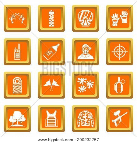 Paintball icons set in orange color isolated vector illustration for web and any design