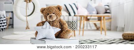 Big Teddy Bear In Girly Room