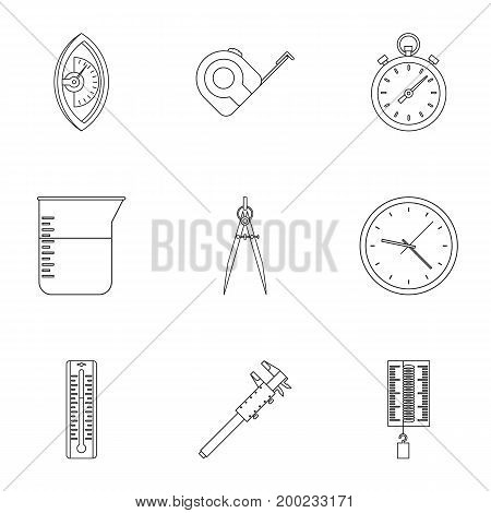 Measurement icon set. Outline style set of 9 measurement vector icons for web isolated on white background