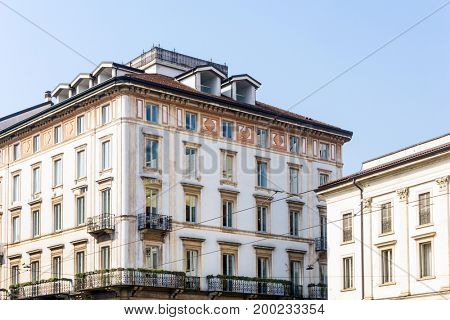 Traditional antique city building in Milan