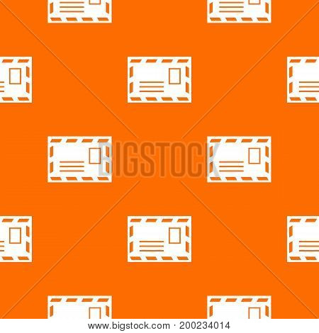 Postage envelope with stamp pattern repeat seamless in orange color for any design. Vector geometric illustration