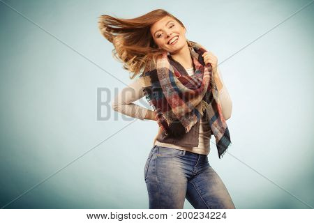 Joyful Girl In Autumn Season Clothing
